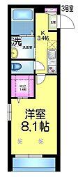 JR総武線 稲毛駅 徒歩8分の賃貸マンション 3階1Kの間取り