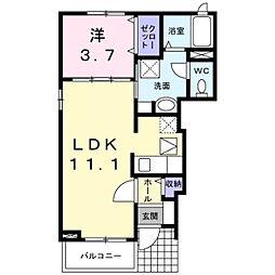 小田急小田原線 喜多見駅 徒歩13分の賃貸アパート 1階1LDKの間取り