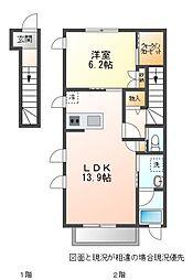 名鉄豊川線 諏訪町駅 徒歩15分の賃貸アパート 2階1LDKの間取り