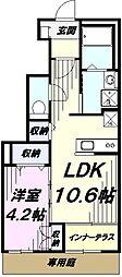 多摩都市モノレール 上北台駅 徒歩19分の賃貸アパート 1階1LDKの間取り