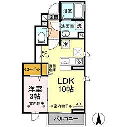 サン・ルミエール B棟 1階1LDKの間取り