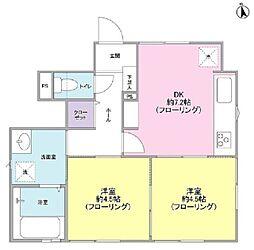 鶴ヶ峰本町1丁目1階 1階2DKの間取り