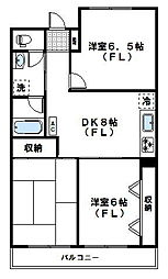 神奈川県川崎市宮前区神木2丁目の賃貸マンションの間取り