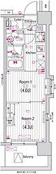東京メトロ東西線 木場駅 徒歩13分の賃貸マンション 3階2Kの間取り