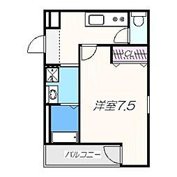 フジパレス堺梅北III番館 2階1Kの間取り