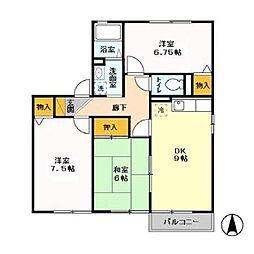つくばエクスプレス 柏の葉キャンパス駅 徒歩21分の賃貸アパート 2階3DKの間取り