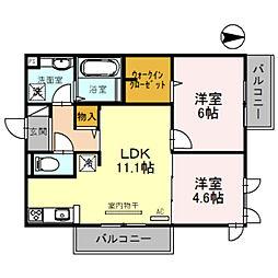 レオガーデン 2階2LDKの間取り