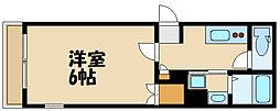 京王線 府中駅 徒歩14分の賃貸マンション 2階1Kの間取り