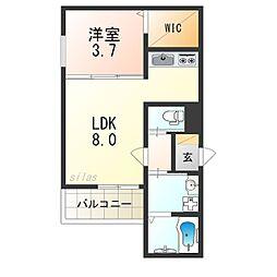 Osaka Metro四つ橋線 花園町駅 徒歩2分の賃貸アパート 1階1LDKの間取り