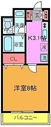 フラップ・S本八幡[4階]の間取り