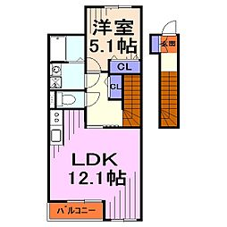 埼玉県川口市大字西新井宿の賃貸アパートの間取り