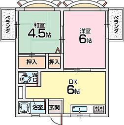中ノ山ハイツ[1階]の間取り