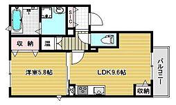 南海高野線 金剛駅 徒歩9分の賃貸アパート 1階1LDKの間取り