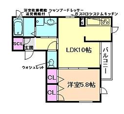 大阪府大阪市福島区野田2丁目の賃貸アパートの間取り