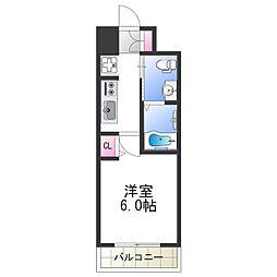 ラクラス阿倍野元町 2階1Kの間取り