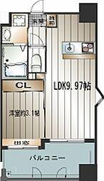 西鉄天神大牟田線 雑餉隈駅 徒歩2分の賃貸マンション 9階1LDKの間取り