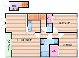 Osaka Metro御堂筋線 江坂駅 徒歩15分の賃貸アパート 2階2LDKの間取り