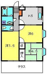 神奈川県横浜市港南区下永谷5丁目の賃貸アパートの間取り