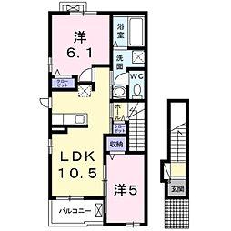 Osaka Metro御堂筋線 新金岡駅 徒歩20分の賃貸アパート 2階2LDKの間取り