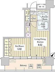 ユニゾンタワー 20階1DKの間取り