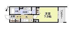 東寺尾新築計画 2階1Kの間取り