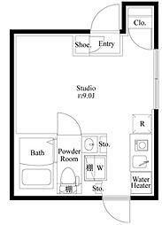 COCOCUBE 平和島 4階ワンルームの間取り