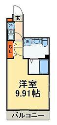 京成本線 船橋競馬場駅 徒歩6分の賃貸アパート 1階1Kの間取り