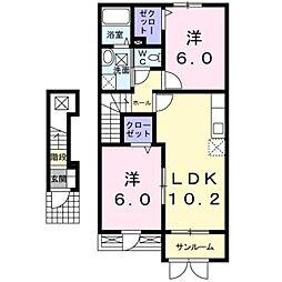 新潟県新潟市南区高井東3丁目の賃貸アパートの間取り