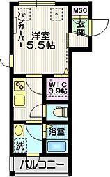 東急池上線 蓮沼駅 徒歩11分の賃貸マンション 3階1Kの間取り