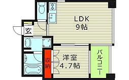 リヴクレール鴫野 8階1LDKの間取り