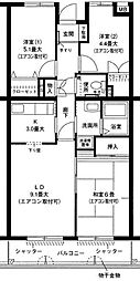 神奈川県横浜市青葉区大場町の賃貸マンションの間取り