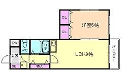 グランベール塚本[3階]の間取り