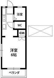JR中央線 西国分寺駅 徒歩5分の賃貸アパート 2階ワンルームの間取り