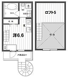 JR中央線 中野駅 徒歩6分の賃貸テラスハウス 3階1SKの間取り