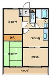 東京都武蔵村山市中原3の賃貸マンションの間取り
