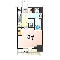 セオリー大阪ベイシティ 5階1Kの間取り