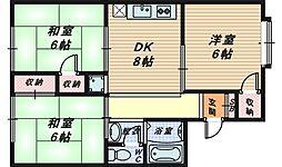 トリバン深井[1階]の間取り