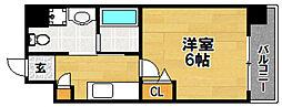Live Casa上新庄 7階1Kの間取り