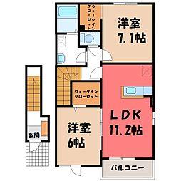 東武宇都宮線 野州平川駅 徒歩5分の賃貸アパート 2階2LDKの間取り