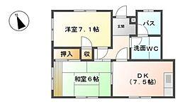愛知県岡崎市大平町字瓦屋前の賃貸アパートの間取り