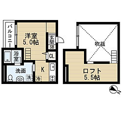 Luna堺東 1階1Kの間取り