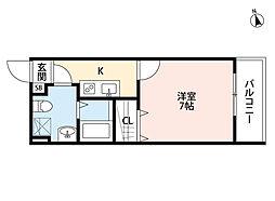 新京成電鉄 上本郷駅 徒歩11分の賃貸アパート 3階1Kの間取り