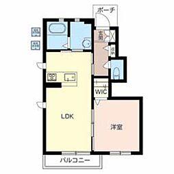 シャーメゾンKOYAMA 1階1LDKの間取り