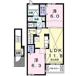 フリーデ西乃芝 2階2LDKの間取り