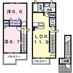 グリーン・パーク B 2階2LDKの間取り
