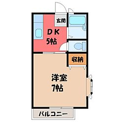 栃木県栃木市今泉町2丁目の賃貸アパートの間取り