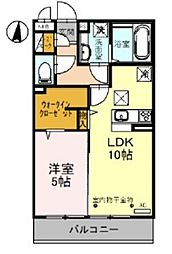 JR武蔵野線 越谷レイクタウン駅 徒歩14分の賃貸アパート 1階1LDKの間取り