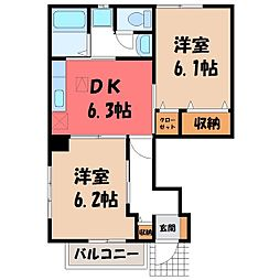 栃木県下野市文教1丁目の賃貸アパートの間取り