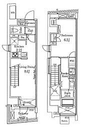 東京メトロ銀座線 表参道駅 徒歩12分の賃貸マンション 14階1LDKの間取り