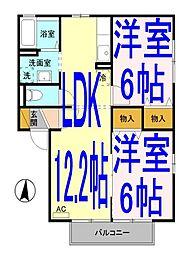栃木県小山市駅南町4丁目の賃貸アパートの間取り